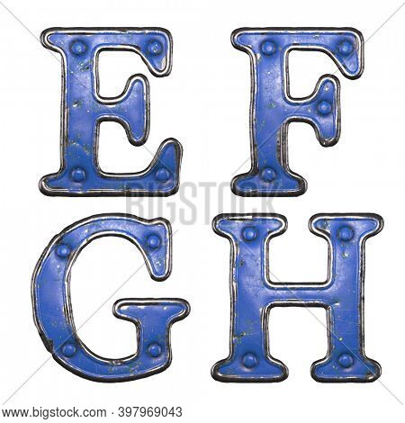 Set of uppercase letters E, F, G, H made of painted metal with blue rivets on white background. 3d rendering