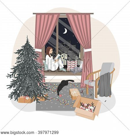 A Cute Relaxed Girl Sitting On A Windowsill And Reading. Hygge Xmas Mood With New Year Tree, Playing