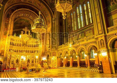 Timisoara, Banat, Romania - June 06, 2015: Long Exposure On Interior Of The Old Orthodox Cathedral W