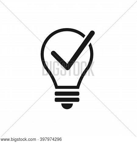 Check Mark In Light Bulb Icon. Idea Concept Vector Icon