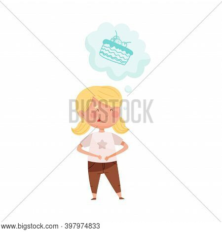 Delighted Red Cheeked Girl Standing And Dreaming About Sweet Cake Vector Illustration