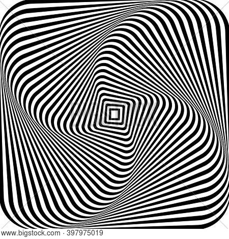 Abstract illusion of 3D whirl movement. Op art design.