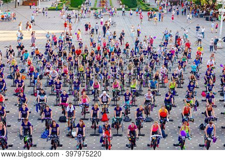 Timisoara, Banat, Romania - June 06, 2015: View From High Above On Group Of People Who Are Working O