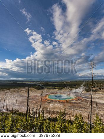 Grand Prismatic Spring Areal View From A Nearby Hill