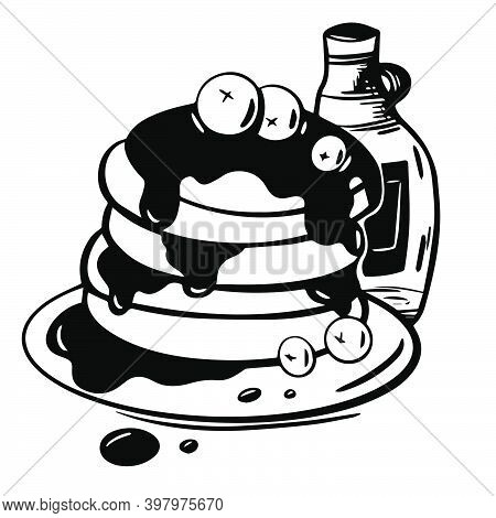 Hand Drawn Illustration Of Pancakes In Syrup With Blueberries In Vector On White Background. Sketch