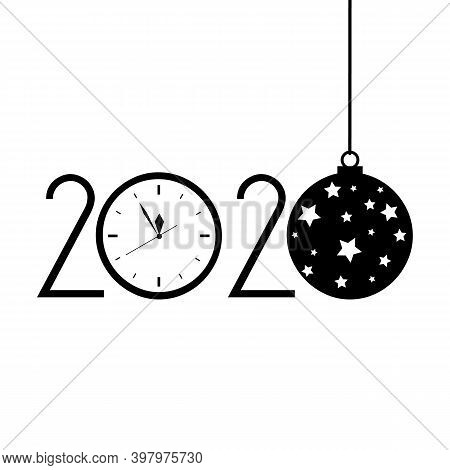 Happy Hew 2020 Year With Clock, New Year , Five Minutes Before Twelve Template