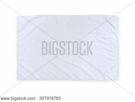White Towel Mock Up Template Or Cotton Fabric Wiper Mockup Isolated On White Background With Clippin