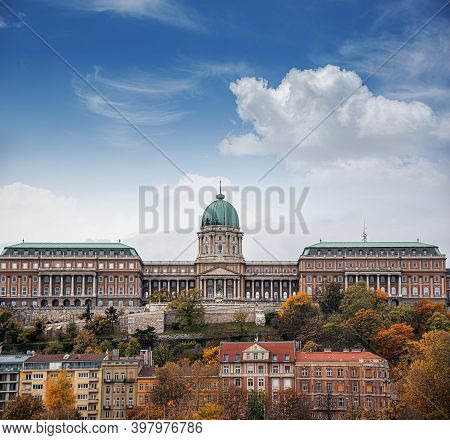 View Of The Royal Palace In Budapest, Hungary. Buda Castle.