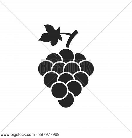 Grape Vector Isolated Icon. Grape Leaf Wine Black Illustration Graphic Pictogram Simple Logo