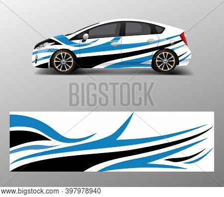 Car Decal Wrap Design Vector. Graphic Abstract Shapes Racing For Vehicle, Race Car Template Design V