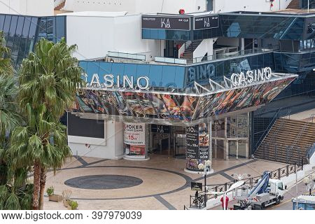 Cannes, France - January 29, 2018: Casino Building At Famous Festival Hall In Cannes, France.