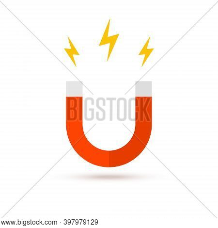 Magnet Vector Logo Icon. Electromagnetic Fieldd Business Attract Concept