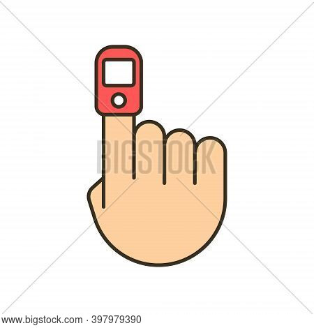 Oxygen Finger Oximeter Saturation. Pulse Heart Blood Level Oximetry Measurement Monitor