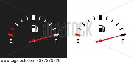 Fuel Indicators Gas Meter. Gauge Vector Tank Full Icon. Car Dial Petrol Gasoline Dashboard
