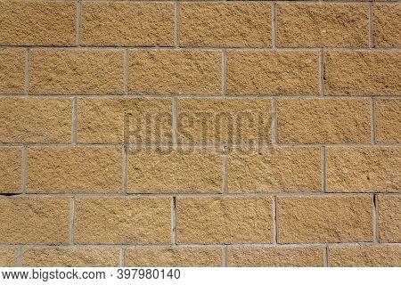 Beige Wall Tiles Imitating Brickwork. Modern Finishing Material. Gray Facade Facing Tiles, Imitating