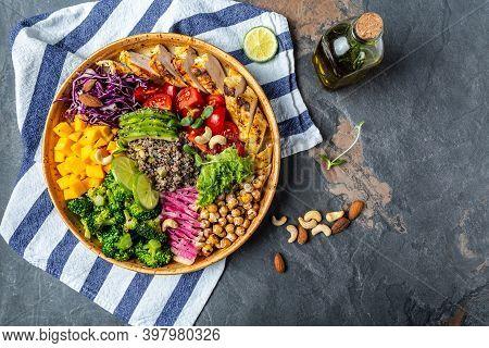 Ketogenic Diet. Buddha Bowl Dish With Grilled Chicken Fillet, Quinoa, Avocado, Pumpkin, Tomato, Broc