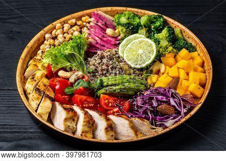 Fresh Salad. Bowl With Fresh Raw Vegetables, Chicken Fillet, Quinoa, Avocado, Chickpea, Watermelon R