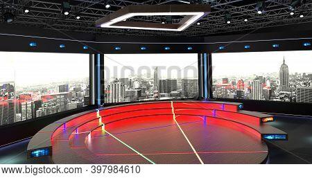 Virtual Tv Studio Chat Set 2-7. 3d Rendering. Virtual Set Studio For Chroma Footage. Wherever You Wa