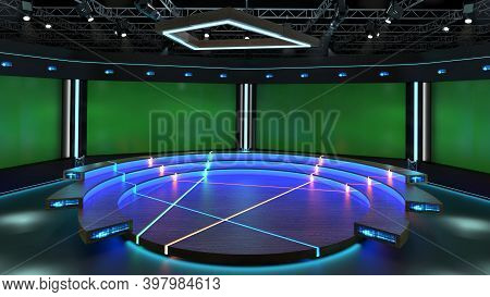 Virtual Studio Green Screen Background. 3d Rendering Virtual Set Studio For Chroma Footage. Wherever