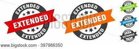 Extended Stamp. Extended Round Ribbon Sticker. Tag