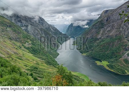 Aerial View Of A Beautiful Norwegian Fjord, The Sognefjord.