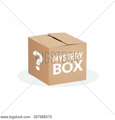 Mystery Contest Box, Lucky Prize Present Surprise Secret. Mystery Box Gift Question Icon