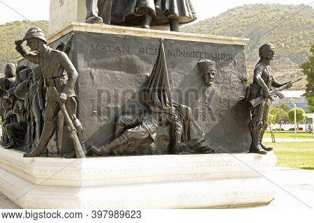 Memorial Monument For Victim Of Terror On Town Square In Fethiye, Mugla, Turkey 11 September 2017
