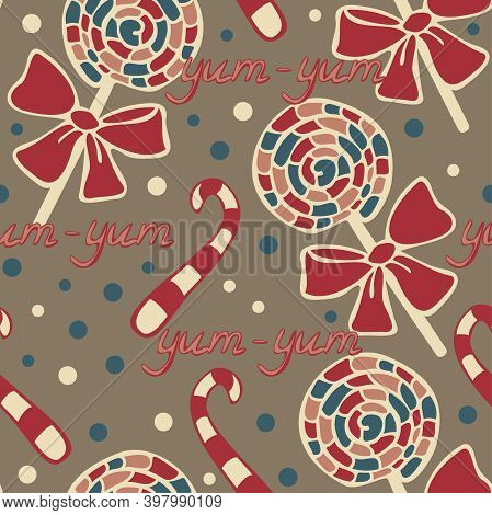 Vector Seamless Pattern Of Lollipops And Candies On A Light Brown Background. Yum-yum Design For Swe