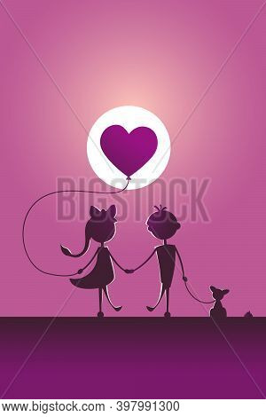 Silhouettes Of A Boy And A Girl Walking In The Moonlight.