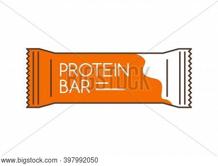 Protein Bar Icon. Protein Snack Chocolate Energy Mockup. Vector Flat Packet Design