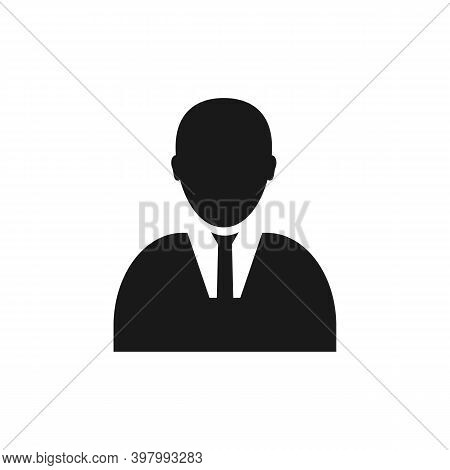 Vector User Icon Of Man In Business Suit, Man Vector Icon Silhouette