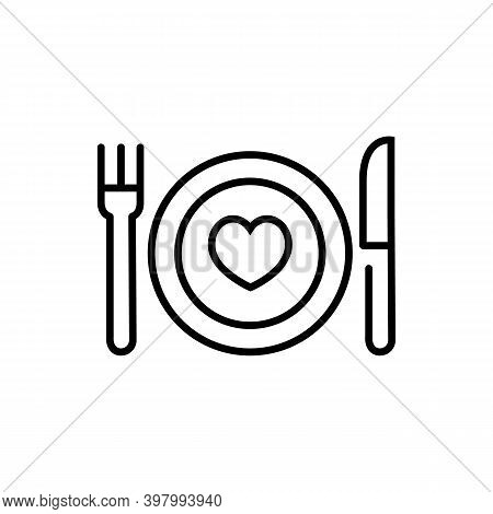 Conceptual Eat Healthy Icon. Heart And Dining Plate Sign. Concept Eat Well For Your Health Symbol. T