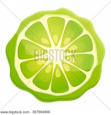Bergamot Juice Slice Icon. Cartoon Of Bergamot Juice Slice Vector Icon For Web Design Isolated On Wh