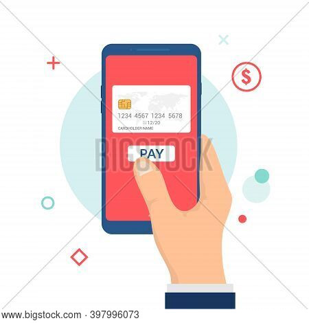 Mobile Payment Vector Icon. Online Bank Card Hold Phone Flat Digital Mobile Payment
