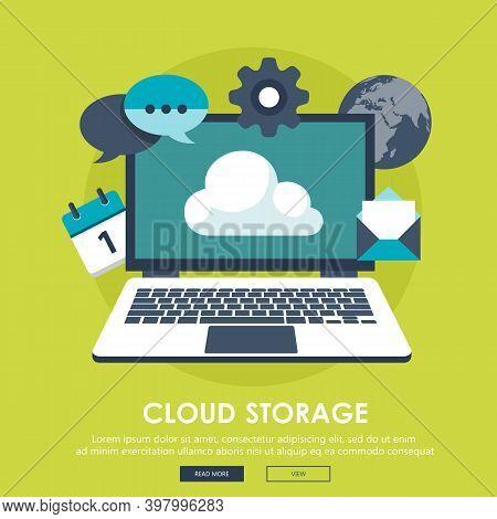 Data Storage Device,media Server.cloud Computing Illustration,flat Style.web Hosting And Cloud Techn