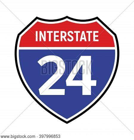 24 Route Sign Icon. Vector Road 24 Highway Interstate American Freeway Symbol