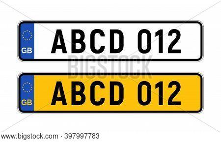 British Uk Car License Plate Template. Gb Car Registration Numberplate Sign Design