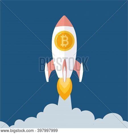 Bitcoin Rate Growth Concept. Blockchain Technologies, Bitcoins, Altcoins, Finance, Digital Money Mar