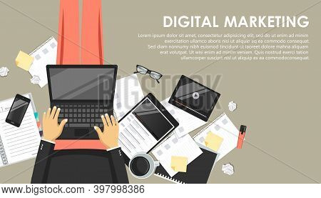 Digital Marketing Concept. Man Sitting On The Floor And Holding Lap Top In His Lap And Working. Flat