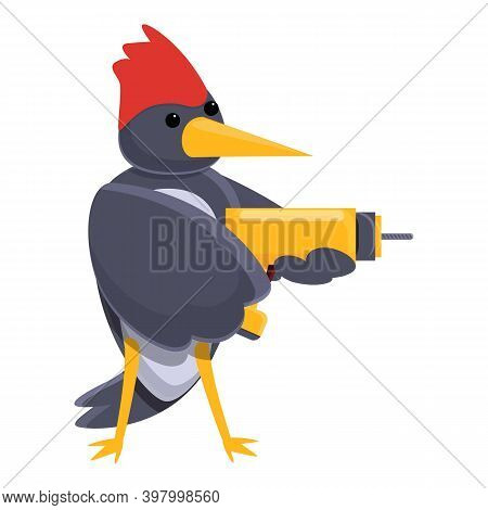 Woodpecker With Hand Drill Icon. Cartoon Of Woodpecker With Hand Drill Vector Icon For Web Design Is