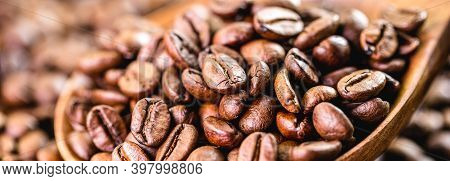 Many Arabica Coffee Seeds, Macro Detail Image. Export-type Brazilian Coffee, Concept Of Rising Coffe