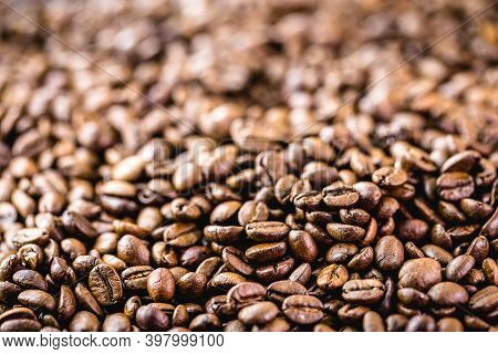 Arabica Coffee Seeds, A Type Of Natural Coffee From Arabia Or Ethiopia. Spot Focus