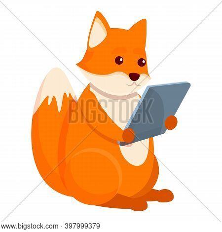 Fox With Tablet Icon. Cartoon Of Fox With Tablet Vector Icon For Web Design Isolated On White Backgr