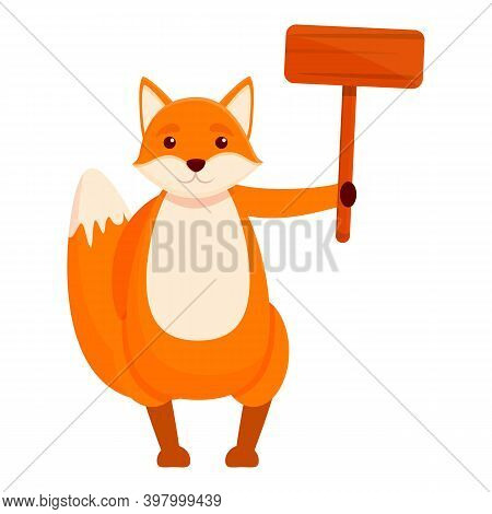 Fox Handle Banner Icon. Cartoon Of Fox Handle Banner Vector Icon For Web Design Isolated On White Ba