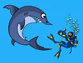 The scuba diver removes an angry shark on a video camera poster