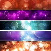 set of five olorful abstract bokeh banner bakcgrounds poster