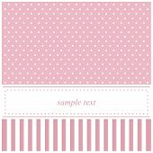 Sweet pink vector card, baby shower or wedding invitation with polka dots and white background to put your own text message poster