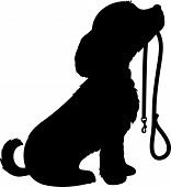 A black silhouette of a sitting dog holding it's leash in it's mouth patiently waiting to go for a walk. poster