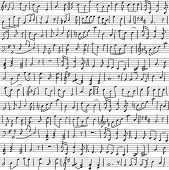 Seamless background with handwritten musical notes. Vector illustration poster