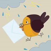 bird with envelope in it's beak flying among clouds and lightnings poster